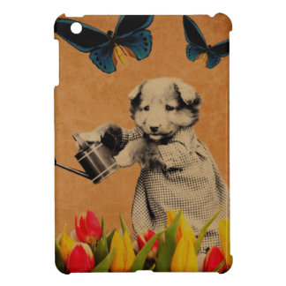Vintage Puppy Flowers Butterfly Grunge iPad Mini Case