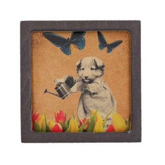Vintage Puppy Flowers Butterfly Grunge Keepsake Box