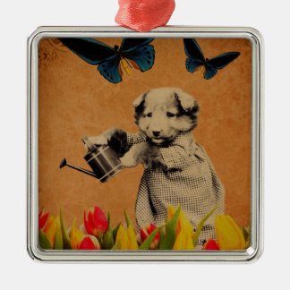 Vintage Puppy Flowers Butterfly Grunge Metal Ornament