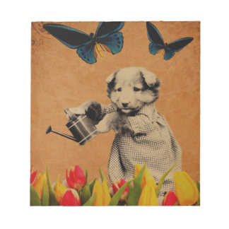Vintage Puppy Flowers Butterfly Grunge Note Pad