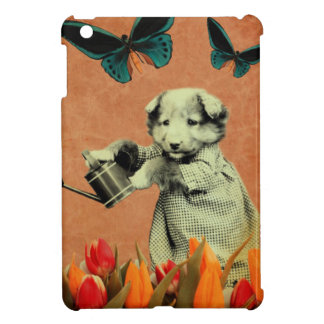 Vintage Puppy Flowers Butterfly I iPad Mini Covers