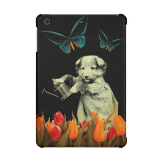Vintage Puppy Flowers Butterfly iPad Mini Case