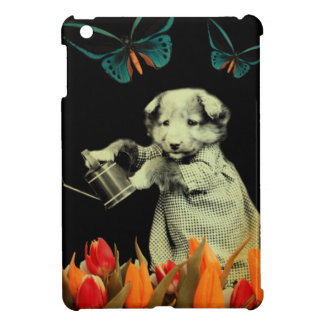 Vintage Puppy Flowers Butterfly iPad Mini Case