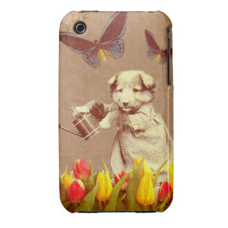 Vintage Puppy Flowers Butterfly iPhone 3 Case