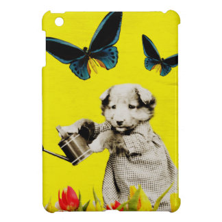 Vintage Puppy Flowers Butterfly Yellow iPad Mini Case