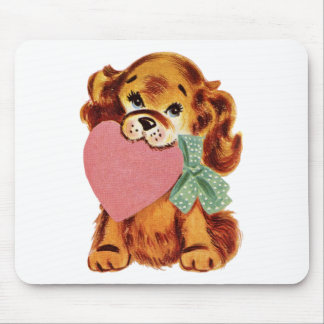 Vintage Puppy Holds Heart Mouse Pad