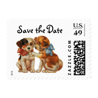 Vintage Puppy Love, Dogs with Bows, Save the Date Postage Stamp
