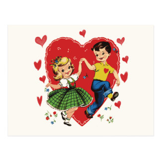 Vintage Puppy Love kids Valentine Postcard