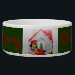 """Vintage Puppy Merry Christmas Bowl<br><div class=""""desc"""">An adorable vintage cartoon dog food bowl shows a puppy dog mail carrier delivering Christmas mail in a red envelope. A quaint little house with a stone chimney has a bluebird watching on the roof. A decorated Christmas tree can be seen through the window with ornaments and a gold star....</div>"""