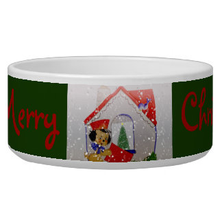 Vintage Puppy Merry Christmas Dog Food Bowl