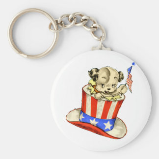 Vintage Puppy with Flag Keychain