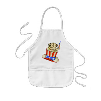 Vintage Puppy with Flag Kids Apron