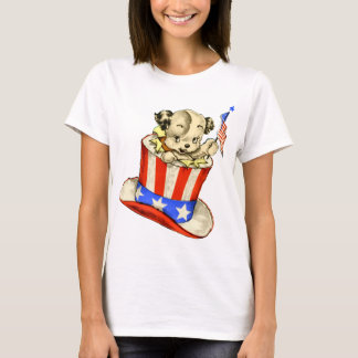 Vintage Puppy with Flag Ladies Baby Doll Shirt