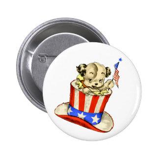 Vintage Puppy with Flag Round Button