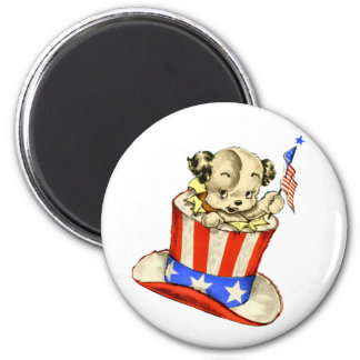 Vintage Puppy with Flag Round Magnet