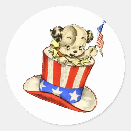 Vintage Puppy with Flag Sticker