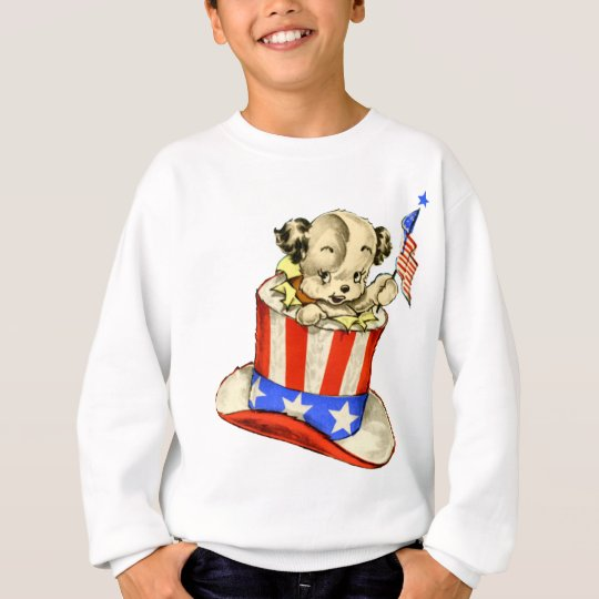 Vintage Puppy with Flag Sweatshirt