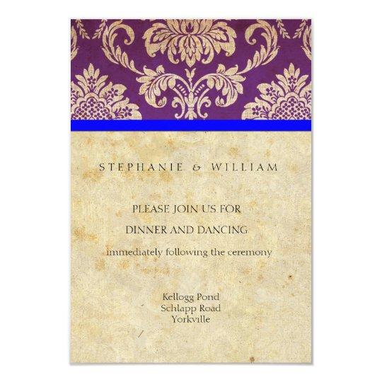 Vintage Purple and Blue Damask Reception Card