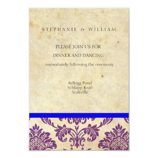Vintage Purple and Blue Damask Reception Card