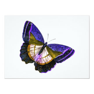 "Vintage Purple and Gold Butterfly Illustration 6.5"" X 8.75"" Invitation Card"