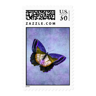 Vintage Purple and Gold Butterfly Illustration Postage