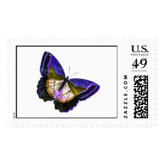 Vintage Purple and Gold Butterfly Illustration Postage Stamp