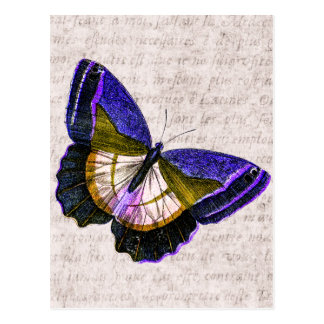 Vintage Purple and Gold Butterfly Illustration Postcard