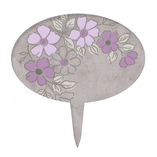 Vintage Purple and Gray Floral Wedding Cake Topper