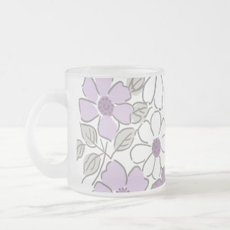 Vintage Purple and Gray Floral Wedding Frosted Glass Coffee Mug