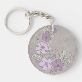 Vintage Purple and Gray Floral Wedding Keychain