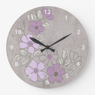 Vintage Purple and Gray Floral Wedding Large Clock