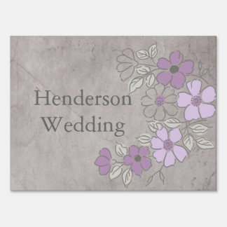 Vintage Purple and Gray Floral Wedding Sign