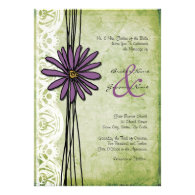 Vintage Purple and Green Daisy Wedding Invitations