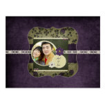 Vintage Purple and Green Save The Date Postcards