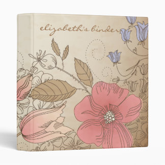 Vintage Purple and Red Flowers Personalized Binder