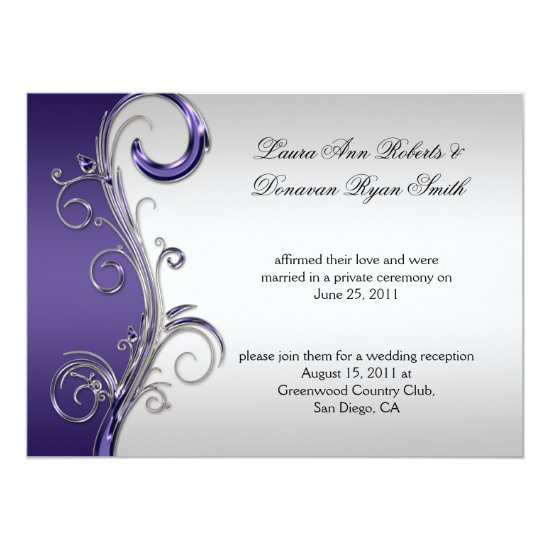 Vintage Purple and Silver Ornate Post Wedding Invitation