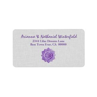 Vintage PURPLE and SILVER  Wedding V03 Address Label