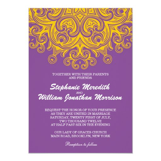 Vintage Purple And Yellow Wedding Invitation