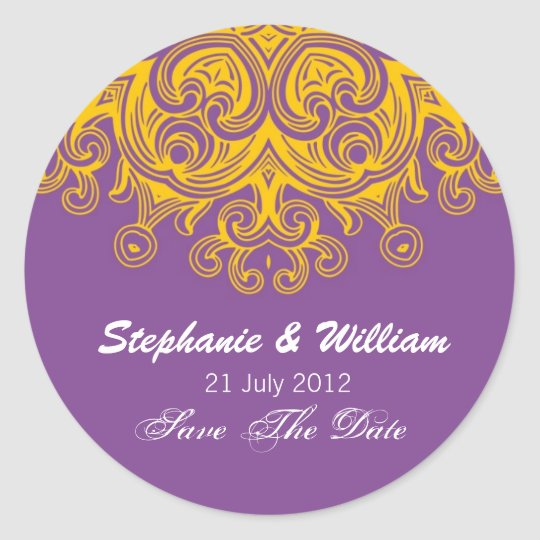 Vintage Purple and Yellow Wedding Sticker