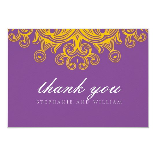 Vintage Purple and Yellow Wedding Thank You Card