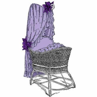 Vintage Purple Baby Bassinet Statuette
