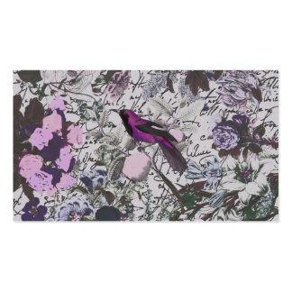 Vintage Purple Bird and Floral Print with Script Business Card