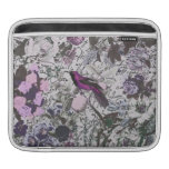 Vintage Purple Bird and Floral Print with Script Sleeve For iPads