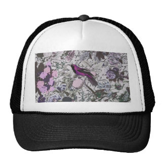 Vintage Purple Bird and Floral Print with Script Trucker Hat