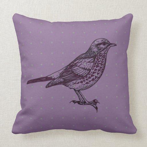 Throw Pillows Bird Design : VINTAGE Purple BIRD DESIGN Retro Throw Pillow Zazzle