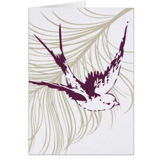 Vintage Purple Bird & Feather Card