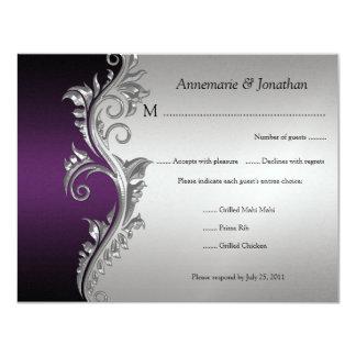 Vintage Purple Black and Silver Floral RSVP 4.25x5.5 Paper Invitation Card