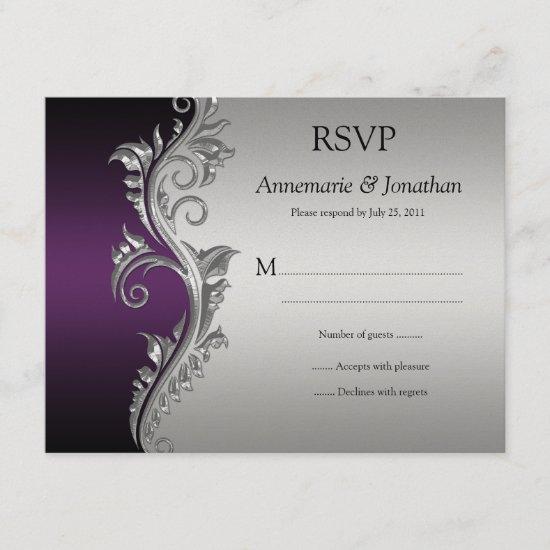 Vintage Purple Black and Silver Ornate Swirls RSVP