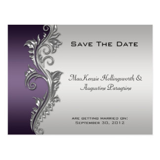 Vintage Purple Black and Silver Save The Date #2 Postcard