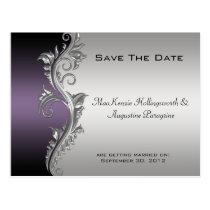 Vintage Purple Black and Silver Save The Date Postcard